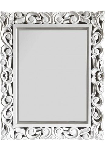 DecorShore 30 x 24 in Genuine Hand-Carved Mango Wood Rectangular Wall Mirror Vintage in White Finish