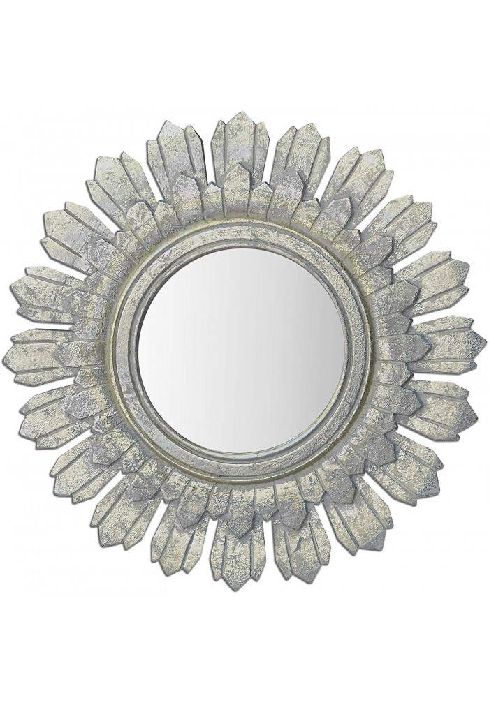 Decorshore Relics Collection 24 In Rustic Wooden Sunburst Accent Mirror In Antiqued Silver Patina Finish Decorshore