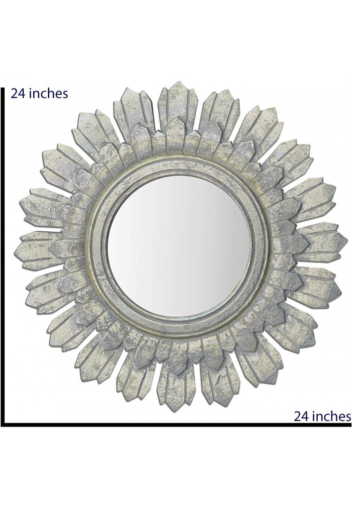 DecorShore Relics Collection 24 in. Rustic Wooden Sunburst Accent Mirror in Antiqued Silver Patina Finish
