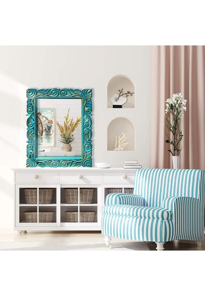 DecorShore Mango Rectangular Wooden Wall Mirror Glamorous Scroll Pattern Carving in Turquoise Green