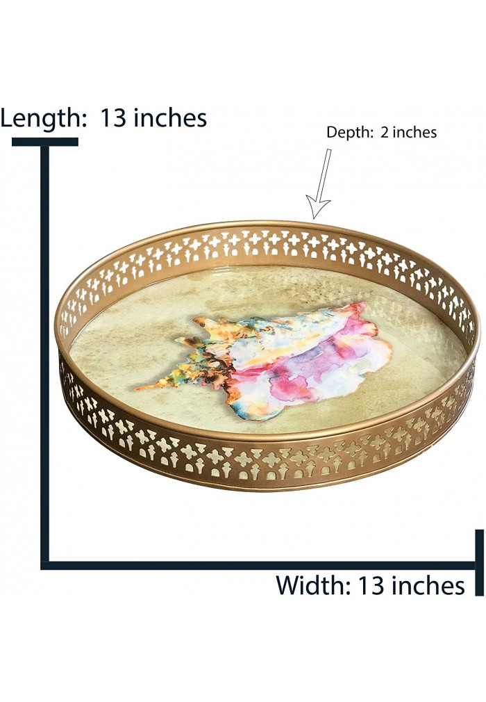 DecorShore Decorative Tray 13 inch Metal Tray with Contemporary Beach & Conch with Brushed Gold Finish