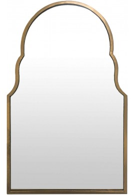 DecorShore Relics Collection 30x18 Moroccan Arch Shaped Decorative Wall Mirror in Brushed Gold Finish