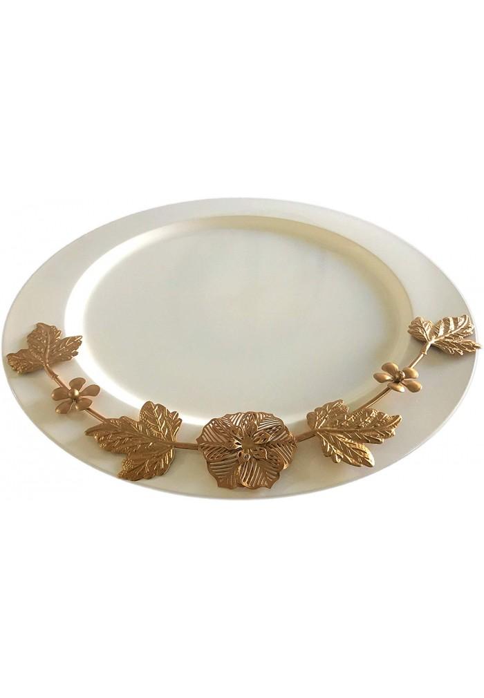 DecorShore Set of 2 Elegant Charger Plates, 13 Inch Service Plates, Tableware Accent & Decorative Plates