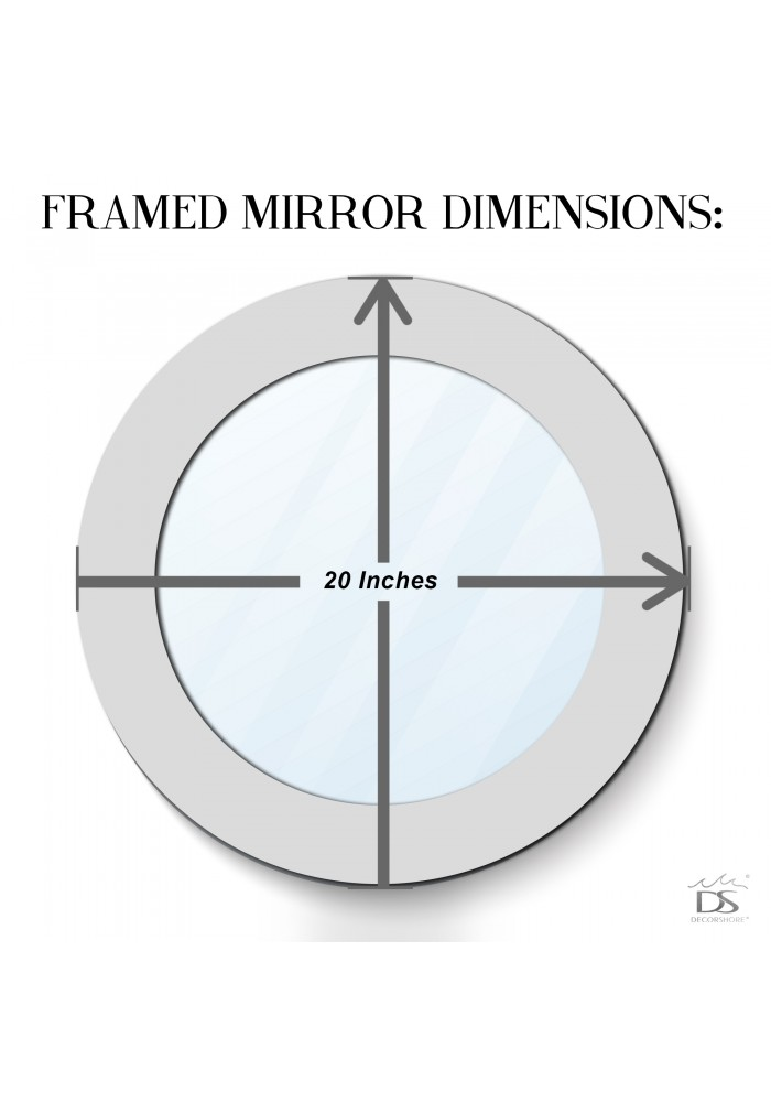 """DecorShore 20"""" Jewel Tone Accent Mirror, Round Decorative Wall Mirror Embossed Glass Mosaic Tile Frame (Silver Topaz)"""