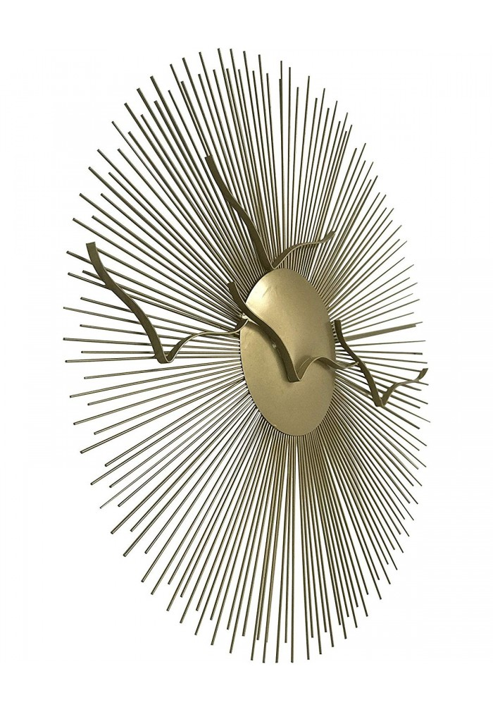 DecorShore Contemporary Large Gold Sunburst Birds Metal Wall Art for Wall Decorations