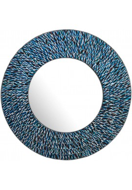 DecorShore 24 Inch Round Wall Mirror Decorative Glass Mosaic Bathroom Mirror in Teal and Black