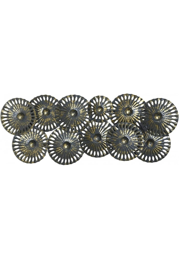 DecorShore Contemporary Extra Large Metal Wall Art in Gold & Gray Abstract Metal Decorative Wall Art