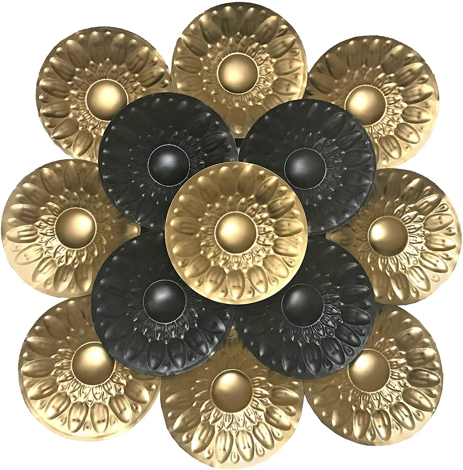 Decorshore Contemporary Large Metal Wall Art In Black Gold For Wall Decor Decorshore