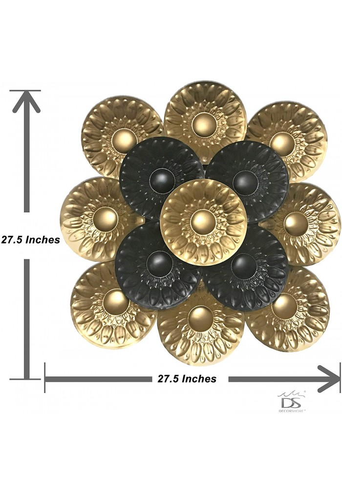 DecorShore Contemporary Large Metal Wall Art in Black & Gold for Wall Decor