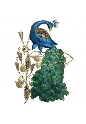 DecorShore Contemporary Peacock Metal Wall Art in Gold Blue Color for Home Decor