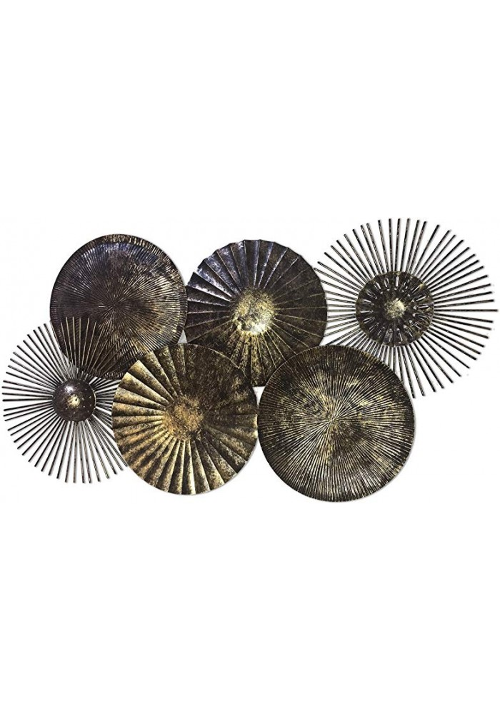 DecorShore Brass Abstract Nature Metal Decorative Wall Art For Home Decor