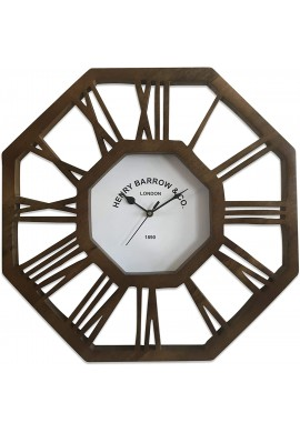 Roman Numeral Decorative Wood Wall Clock in Octagon Shape
