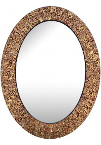 DecorShore Traditional Decorative Mosaic Mirror - 32x24 in Oval Shape Hanging Brown Wall Mirror