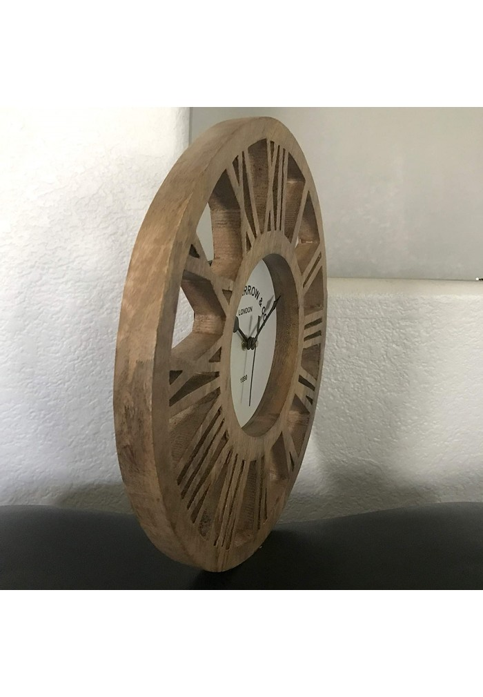 DecorShore 12 inches Round Rustic Wood Wall Clock, Carved Design Silent Decorative Wooden Clock for Home Decor