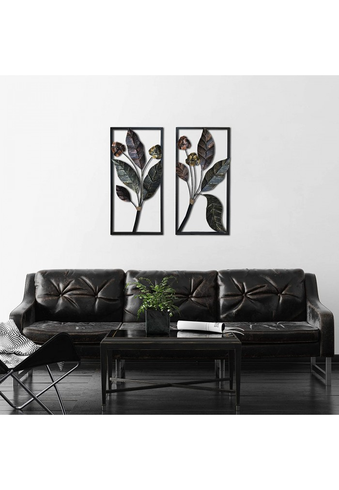 Decorshore Contemporary Floral Leaf Large Metal Decorative Wall Art For Wall Decor Nature Decorations Decorshore