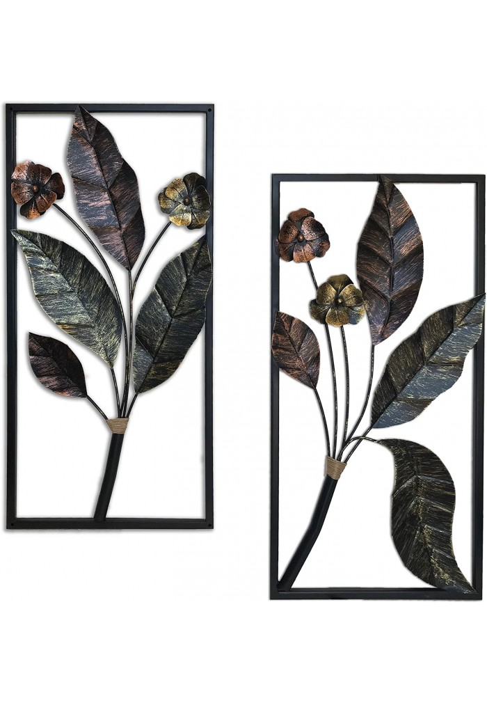 DecorShore Contemporary Floral Leaf large Metal Decorative Wall Art For Wall Decor & Nature Decorations
