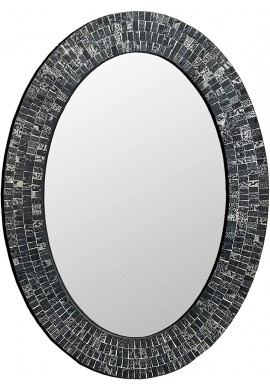 DecorShore 32 inch Traditional Decorative Mosaic Mirror in Oval Shape Black & Silver Hanging Wall Mirror