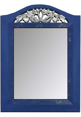 DecorShore Large Rustic Wooden Wall Mirror Hand-Carved with Gilded Scroll French Rococo Style