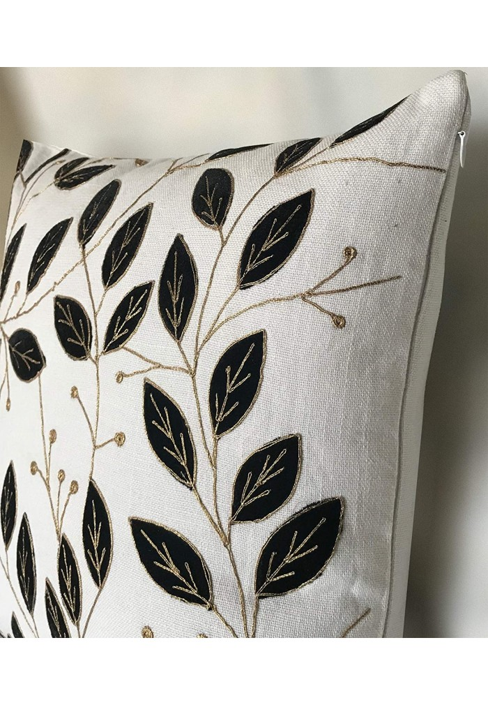 Zara 18 inch Artisan Crafted Decorative Throw Pillow Cushion Cover - White Cotton Jute Leaf Pattern