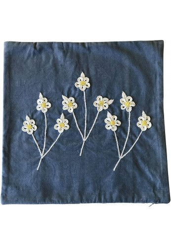 Kenna 18 inch Artisanal Decorative Throw Pillow Cover in Blue with Daisy Floral Embroidery