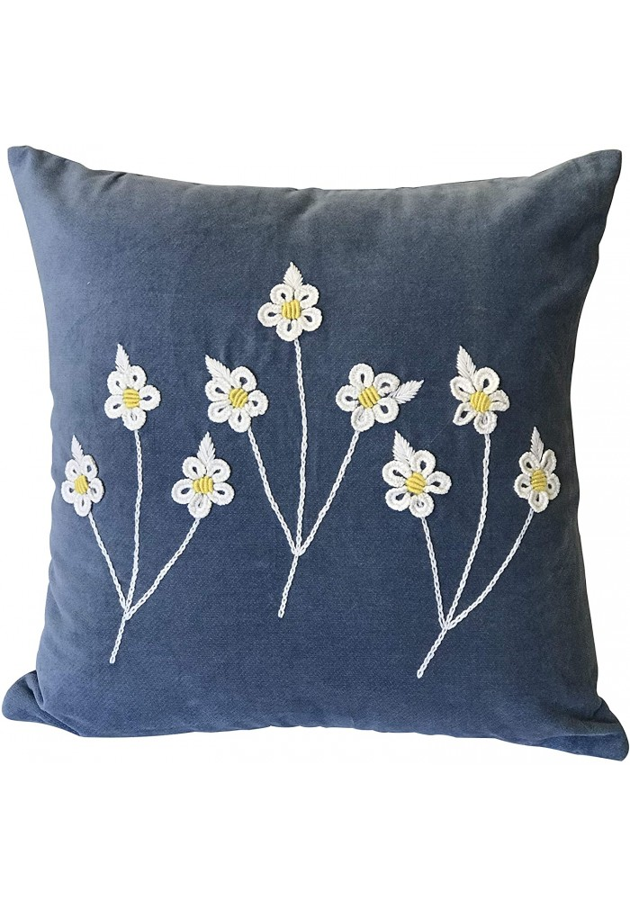 DecorShore Kenna 18 inch Artisanal Decorative Throw Pillow Cover in Blue with Daisy Floral Embroidery