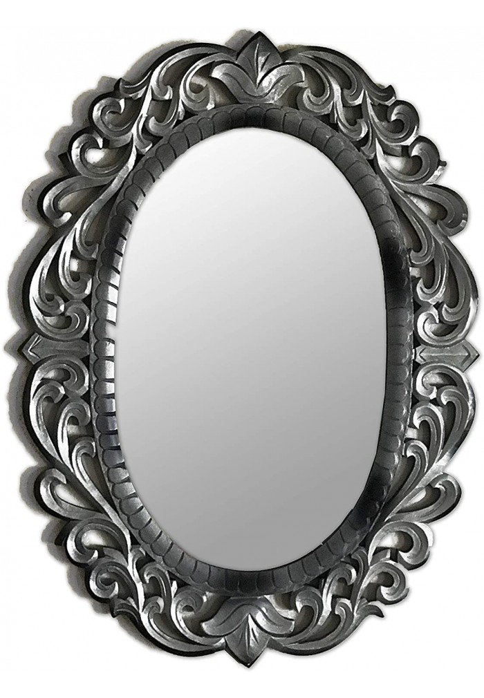 30 x 22 Oval Decorative Wood Wall Mirror with Artisan Carved Wooden Mirror Frame Scroll Pattern