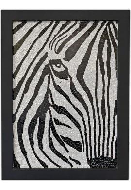 32 Inch Mosaic Wall Art, Framed Artwork Zebra Print Home Decor Glass Mosaic Decorative Wall Art for Living Room