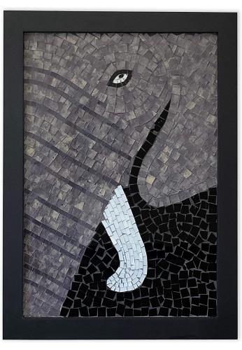 DecorShore 32 inch Mosaic Wall Art, Large Framed Artwork Elephant Print wall art & Glass Mosaic Decorative Wall Art