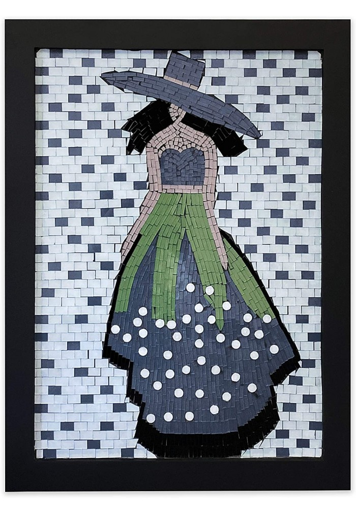 Large Mosaic Wall Art|Home Decor Glass Mosaic Decorative Wall Art for Living Room Large|Framed Artwork Feminine Fashion
