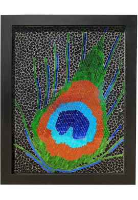 Large Glass Mosaic Wall Art Framed Artwork Feathers for Home Decor Living Room, Bedroom & Office