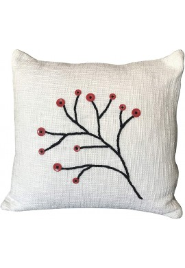 Decorative Throw Pillow Cover Nature Boho Woven Pillowcase in White Black Red