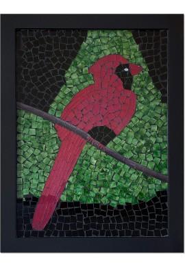 Large Framed Artwork Bird Tree Glass Mosaic Decorative Wall Art for Home Decor & Living Room