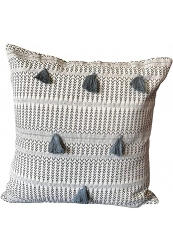 Throw Pillow Cover Tribal Boho Woven Pillowcase with Tassels Soft for Sofa Couch 18 Inch Blue Ivory