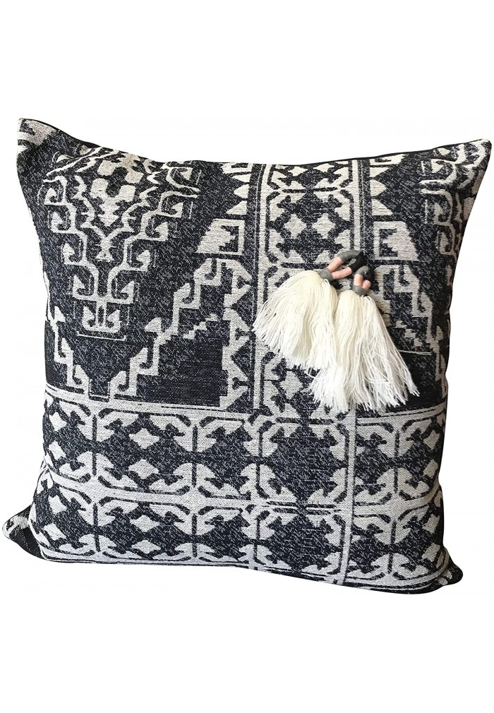 DecorShore Decorative Throw Pillow Cover Tribal Boho Woven Pillowcase in 18 Inch Gray Ivory Peach