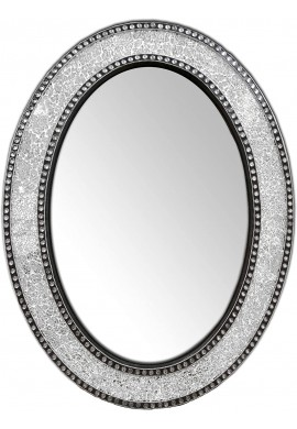 Decorative Wall Mirror, Oval Frame Colorful Crackled Glass Mosaic Mirror in Jewel Tone Colors (Silver)