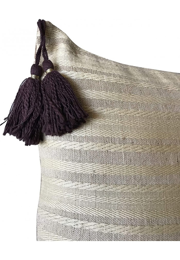 18 Inch Throw Pillow Cover Tribal Boho Woven Pillowcase with Tassels Soft Cushion Case Cream Beige Brown