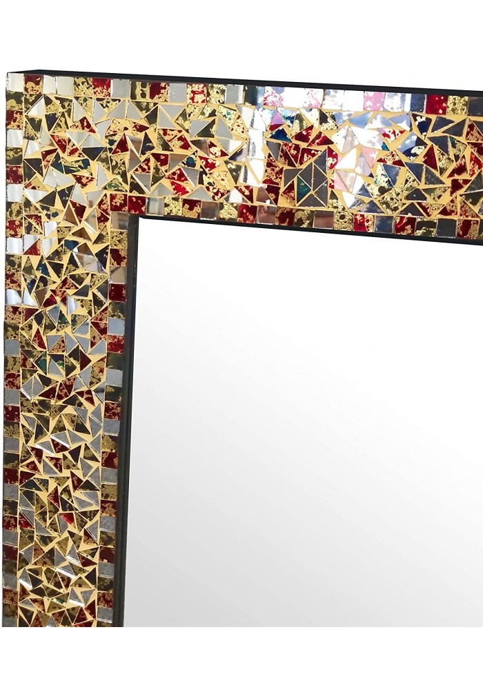 "30"" Multi-Colored & Gold, Luxe Mosaic Glass Framed Wall Mirror & Decorative Embossed Mosaic Rectangular Vanity Mirror"