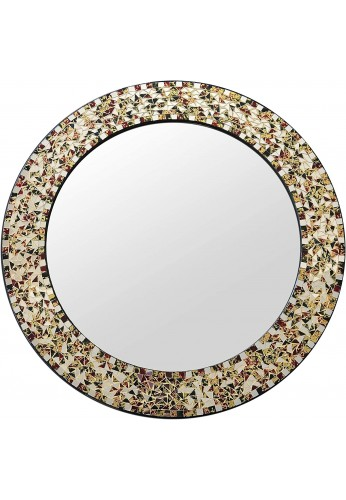 "DecorShore 24"" Decorative Mosaic Glass Wall Mirror (Gemstone Rainbow)"