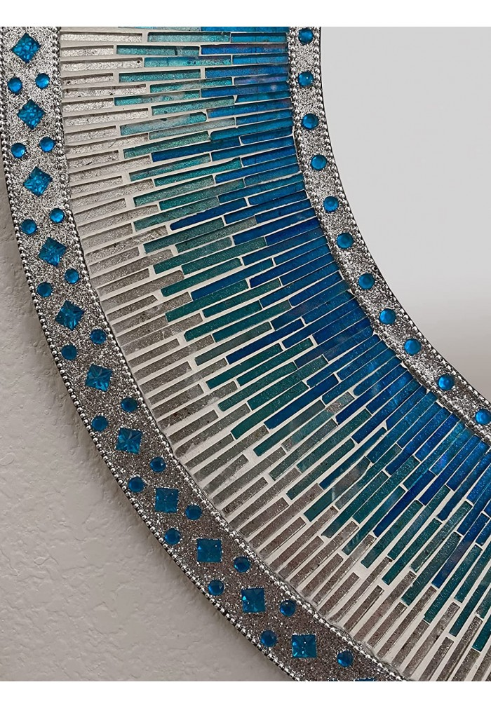 """Decorative Wall Mirror Mosaic 24"""" Round Handcrafted Wall Art in Shades of Ocean Blue & Aqua Colorful Glass Tile"""