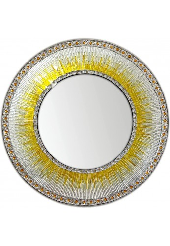 """Decorative Wall Mirror 24"""" Round Mosaic Mirror in Shades of Sunny Yellow & Gold, White Silver Glitter Colorful Glass Tile"""