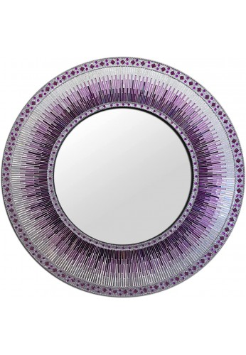 """Mosaic Wall Mirror Mosaic 24"""" Round Wall Art in Shades of Bright Purple & Violet with Silver Colorful Glass Tile Decor for Home"""