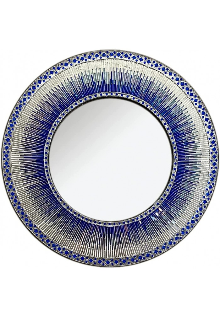 """Decorative Wall Mirror Mosaic 24"""" Round Handcrafted Wall Art in Shades of Cobalt Blue & Silver Glitter Colorful Glass Tile"""