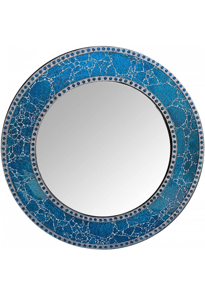 """24"""" Sapphire Round Wall Mirror, Handmade Crackled Glass Mosaic Tile Framed, Decorative Design by DecorShore"""