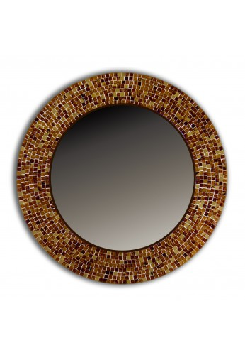 "Mosaic Mirror Wall Decor buy 24"" brown traditional mosaic decorative wall mirror online"
