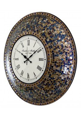 "DecorShore 24"" Fired Gold Mosaic Wall Clock, Decorative Round Wall Clock"