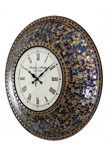 "22.5"" Fired Gold Wall Clock, Handmade Glass Mosaic Wall Clock, Quiet Motion Design by DecorShore"