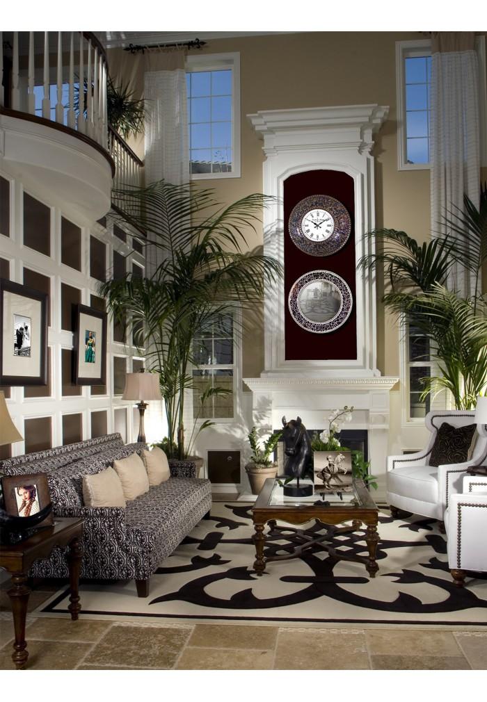 "DecorShore 24"" Fired Gold Mosaic Wall Clock, Decorative Round Wall Clock"