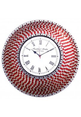 "22.5"" Red & Silver Wall Clock, Handmade Glass Mosaic Quiet Motion Wall Clock by DecorShore"