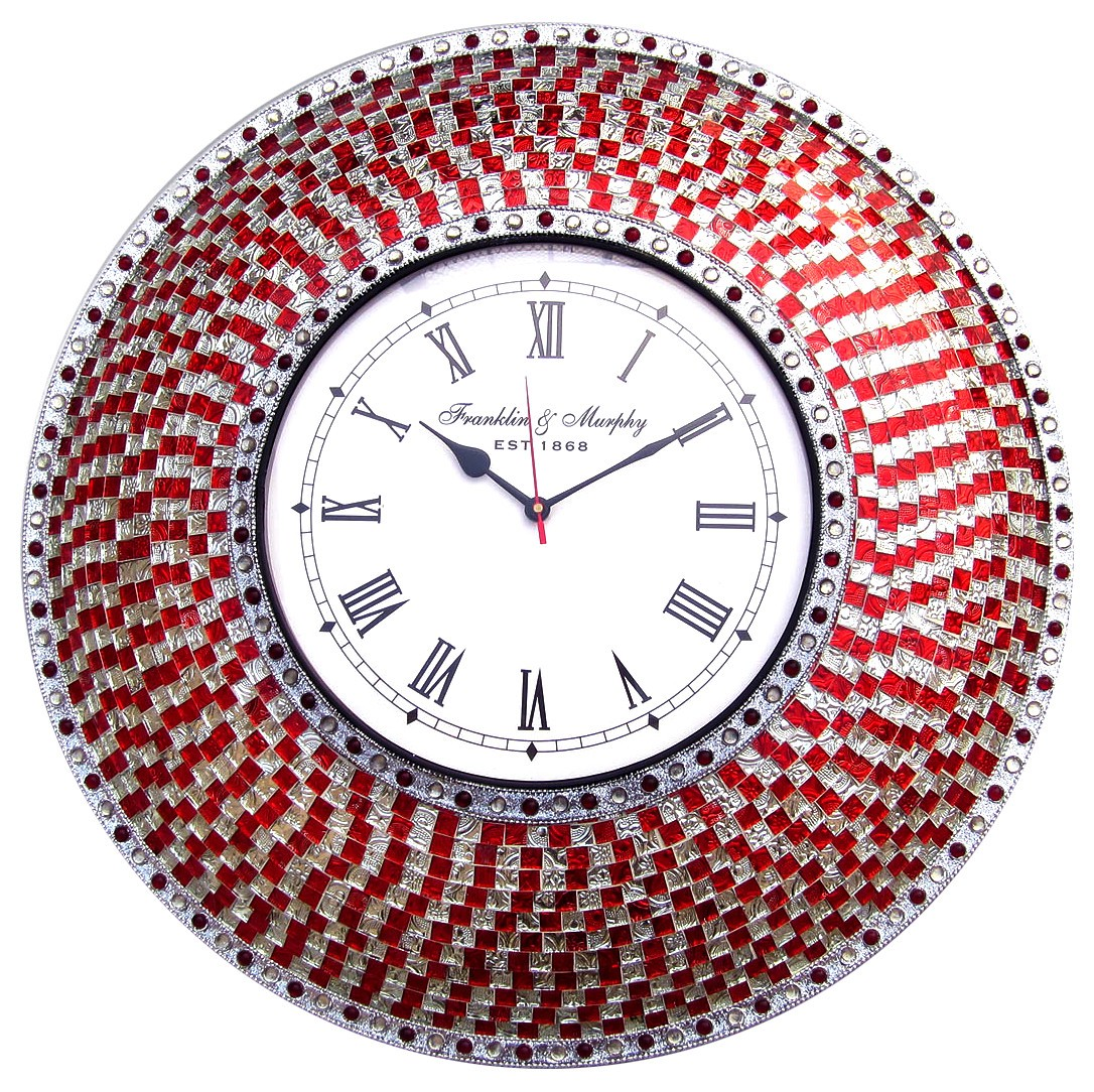 Buy 225 red and silver handmade glass mosaic wall clock online buy 225 red and silver handmade glass mosaic wall clock online decorshore amipublicfo Gallery