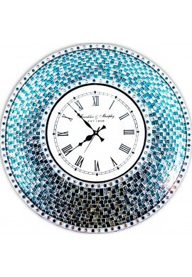 "22.5"" Silver Turquoise Wall Clock, Handmade Glass Mosaic Quiet Motion Wall Clock by DecorShore"